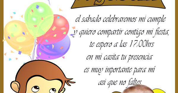 Tarjetas De Cumpleaños Invitacion De Jorge El Curioso