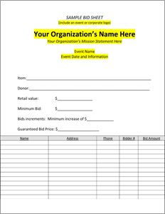 Downloadable Silent Auction Bid Sheets Create Your Own Silent