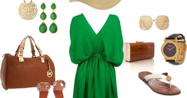 Great flowy green dress with leather bag and floppy hat :)