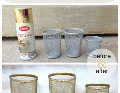 Gold Spray Painted Pencil Holders. - before and after gold ...