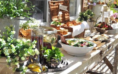 Food display: baskets, footed bowls, vintage platters, tart tins as an assortment