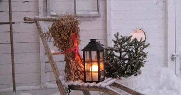 Vintage Sled Window Garden Tools In The Snow Decor
