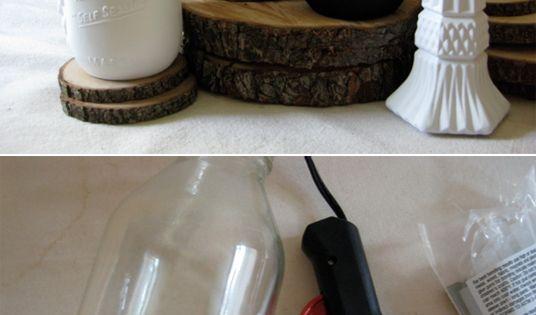 CUSTOM mason jars -- add words using hot glue gun and then