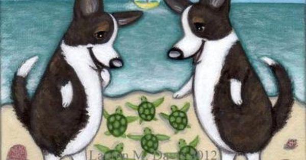 Brindle Cardigan Welsh Corgi Dog Fun Cute Baby Sea Turtles Original Alex 5x7 Painting Folk Beach Lauren M Davis Art For Sale