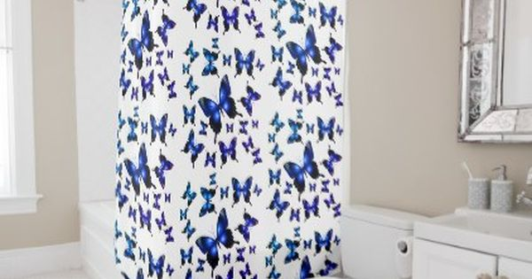 William Morris Hyacinth Print Cobalt And Navy Blue Shower Curtain