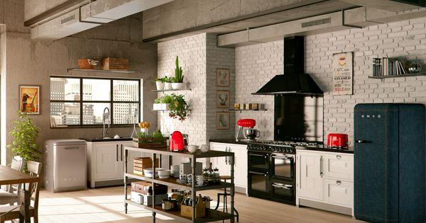 k cheneinrichtung mit victoria kochzentrum retro k hlschrank geschirr sp lmaschine und kleinen. Black Bedroom Furniture Sets. Home Design Ideas