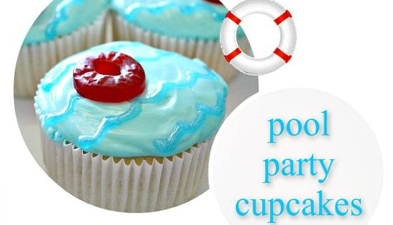 Pool party cupcakes...possible for Jojo's rock climbing and swimming party
