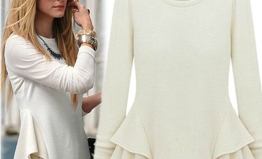 Fashion O Neck Long Sleeve White Cotton Blouse 115