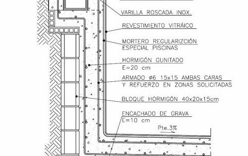 Secci n constructiva detallando todos los elementos for Detalles constructivos de piscinas
