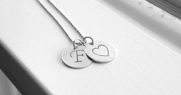Letter F Initial Necklace Sterling Silver By Girlburkestudios 40 00 Sterling Silver Initial Necklace Initial Necklace Initial Heart Necklace