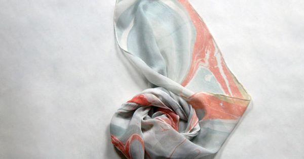 Marbled Silk Chiffon Scarf V Silk Chiffon Scarves Chiffon Scarf Silk Chiffon