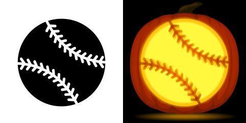Baseball pumpkin carving stencil free pdf pattern to