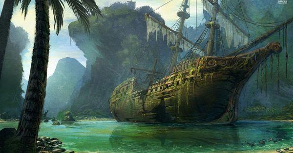 Wallpaper Ship Drowning Hd Creative Graphics 8497: Pirate Ship Beach - Google Zoeken
