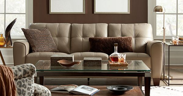 Kaleb tufted leather sofa created for macy 39 s tufted for Sofa ideal cordoba