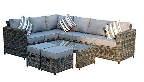 Yakoe 50110 New Conservatory Modular 8 Seater Rattan Corner Sofa Set Grey Terrace Furniture Patio Furniture Pillows Rattan Corner Sofa
