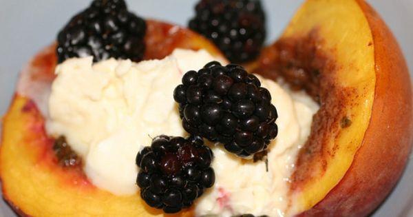 Roasted peaches with honey mascarpone cream | Yum | Pinterest ...