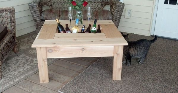 Cedar Coffee Table With Built In Beverage Cooler Porch