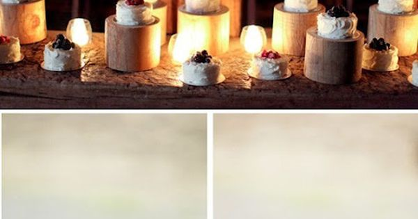 Use mini tree stumps as cake stands - By Bustled Blog