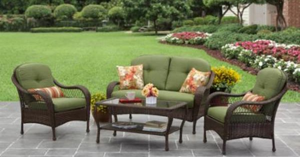 Azalea ridge 4 piece outdoor conversation set green for Azalea ridge chaise lounge