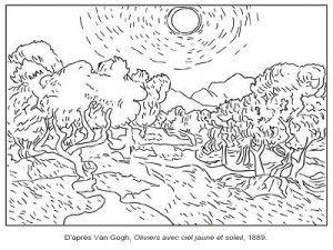 71 Coloriages D œuvres D Artistes Peintres A Imprimer Coloriage Art De Van Gogh Peintre