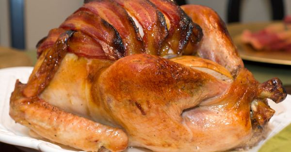 Maple Glazed Roast Turkey with Applewood Smoked Bacon holidayentertaining thanksgiving