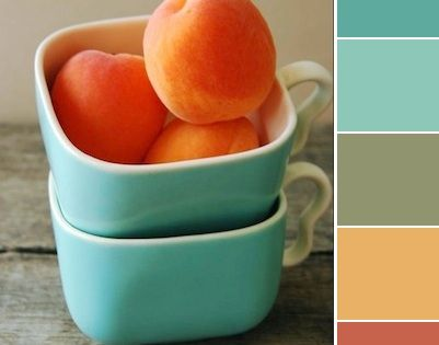 Kitchen color scheme blues yellows and peach the - Peach color kitchen ...
