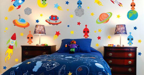 Espacio pared calcoman as espacio tema guarder a espacio for Calcomanias para dormitorios