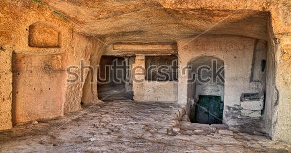 Matera Basilicata Italy Interior Of An Old Cave House Carved