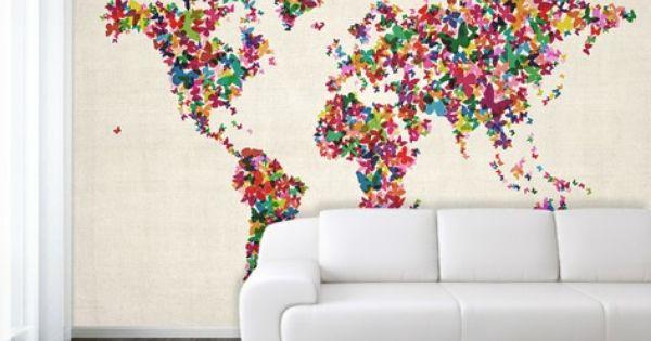 Butterflies art world map wallpaper mural wall dressing for Butterfly mural wallpaper
