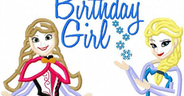 Frozen Elsa And Anna Birthday Girl Applique Shirt Frozen
