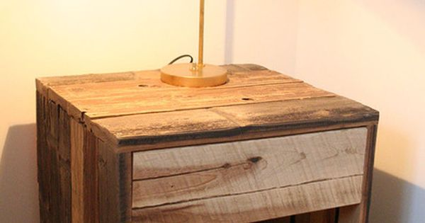 Pallet bedside table i wonder if we could do this with a for Wooden crate bedside table