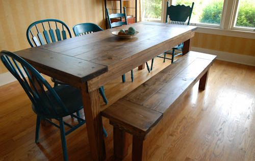 DIY Farmhouse Table and Bench Easy step by step instructions to make