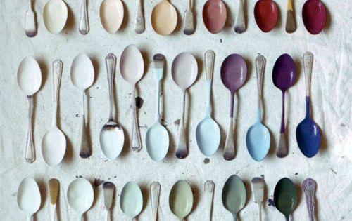 Painted spoons wall art idea.