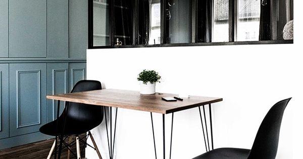 D co sympa sobre noir et blanc coin cuisine s par de for Table de salle a manger contre un mur