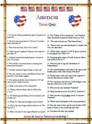 picture regarding American History Trivia Questions and Answers Printable known as American Heritage inside a trivia activity American Trivia 4th of
