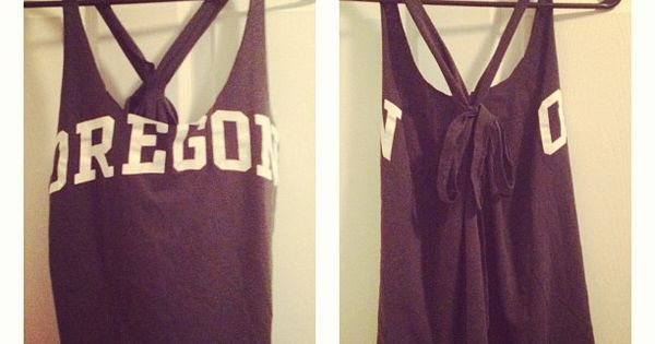 DIY old college tshirt tank, I love doing this with my old
