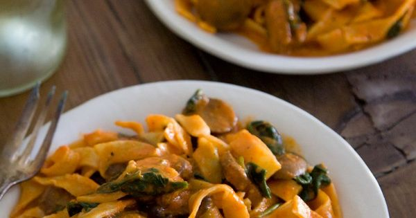 Red pepper pasta with mushrooms and spinach from What's Gaby Cooking ...