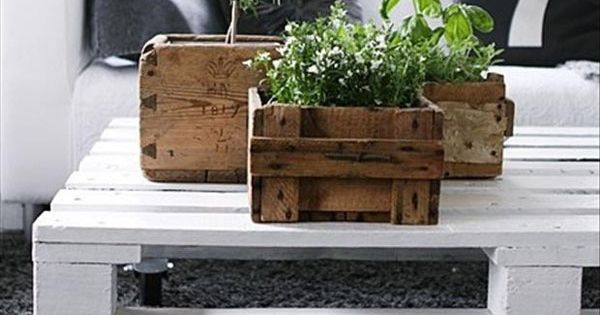 herbes aromatiques dans des cagettes en bois caches pot. Black Bedroom Furniture Sets. Home Design Ideas