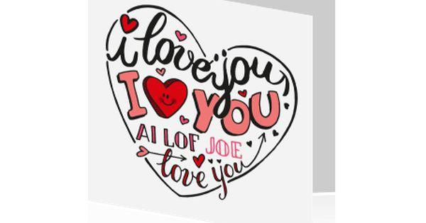 Valentijnskaart Met Hartjes En I Love You Tekst Wenskaarten Ware Liefde Wenskaart