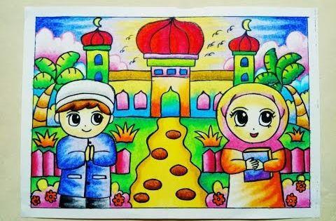 Cara Mewarnai Gradasi Crayon Oilpastel Pergi Ke Masjid Youtube Drawing Lessons Seni Buku Buku Mewarnai