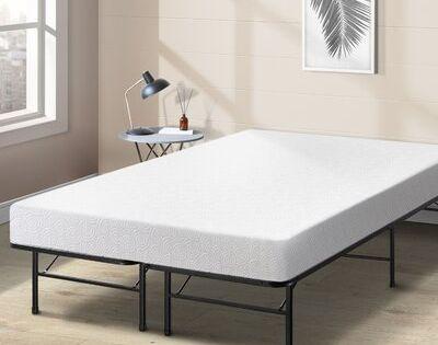 Alwyn Home 7 Gel Memory Foam Mattress And Bed Frame Foundation Set Size Queen In 2020 Upholstered Bed Frame Bed Frame Bed Slats