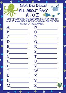 BOYS 24 Blue Sheets BABY SHOWER  A TO Z BABY ALPHABET WORD GAMES
