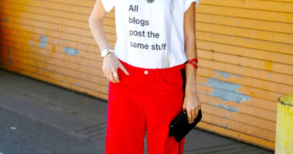 People actually buy this stuff? Leandra Medine in an American Apparel top,