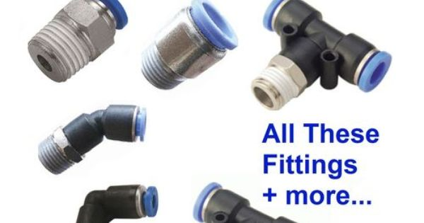 Pneumatic push in fittings for air water hose tube all