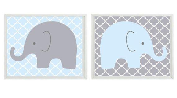 Elephant Nursery Wall Art Light Blue Gray Decor Children Kid Boy Baby Room Home Decor