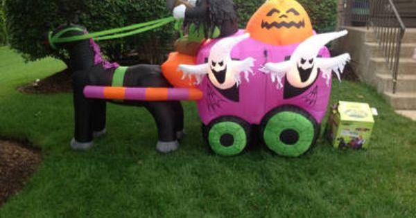gemmy airblown inflatable skeleton coach horse halloween decoration - Halloween Decorations Ebay
