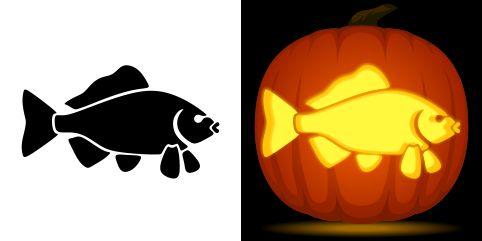 Fish pumpkin carving stencil free pdf pattern to download