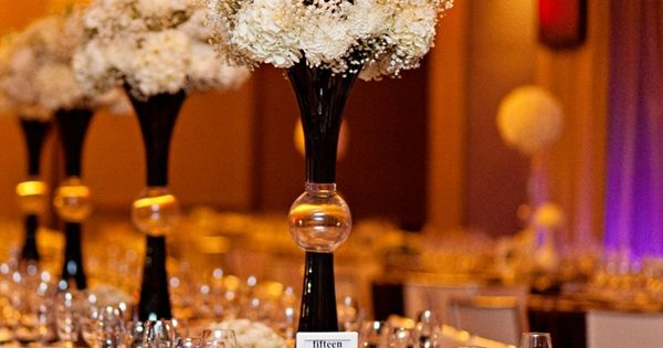 Black & white reception wedding flowers, wedding decor, wedding flower centerpiece, wedding