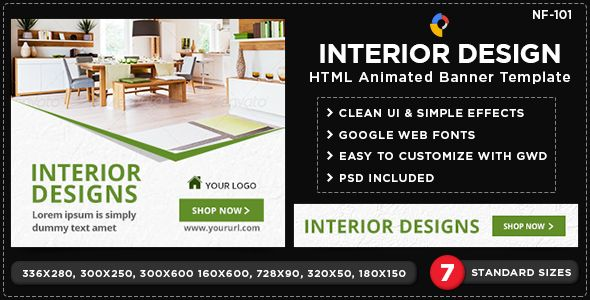 Html5 Interior Design Banners Nf101 7 Sizes With Images