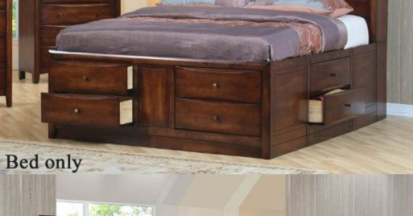 Coaster King Size Bookcase Chest Bed In Brown Finish